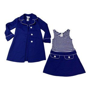 Bonnie Jean Blue Stripe Girl's Dress and Coat Two Piece Set Size 7